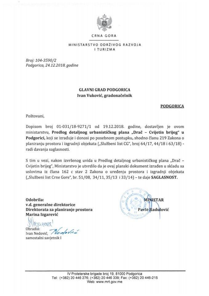 104-3590_2 Saglasnost na Predlog DUP-a Drač-Cvijetin brijeg, Glavni grad Podgorica