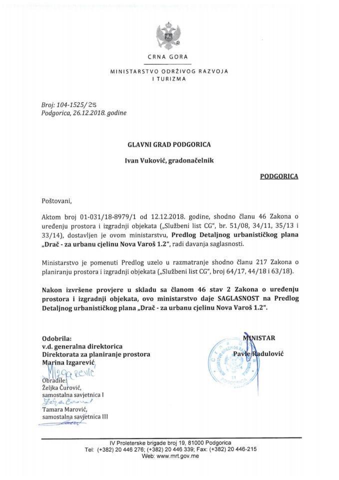 104-1525_25 Saglasnost na Predlog DUP-a Drač - za urbanu cjelinu Nova Varoš 1.2, Glavni grad Podgorica