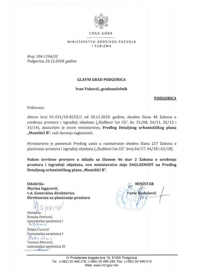 104-1194_32 Saglasnost na Predlog DUP-a Momišići B, Glavni grad Podgorica