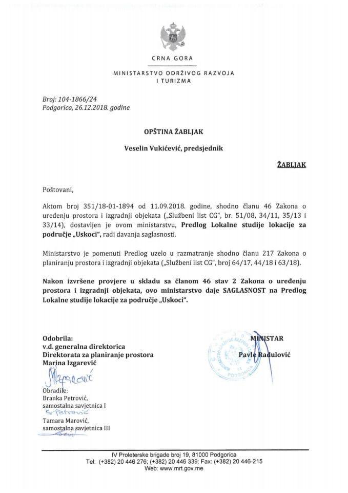 104-1866_24 Saglasnost na Predlog LSL za područje Uskoci, Opština Žabljak