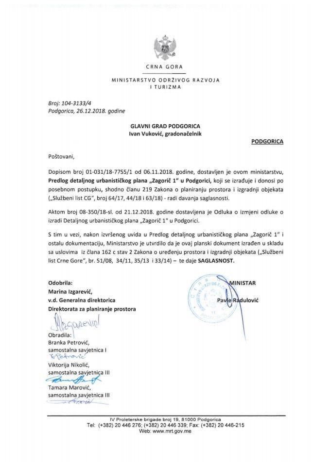 104-3133_4 Saglasnost na Predlog na Predlog DUP-a Zagorič 1, Glavni grad Podgorica
