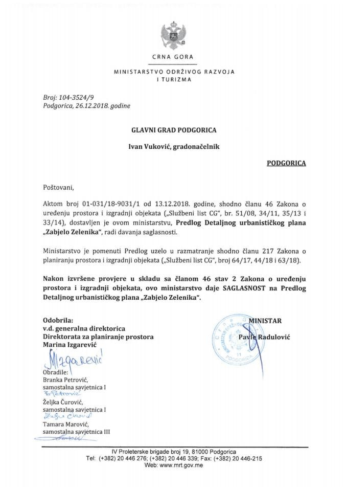 104-3524_9 Saglasnost na Predlog DUP-a Zabjelo Zelenika, Glavni grad Podgorica
