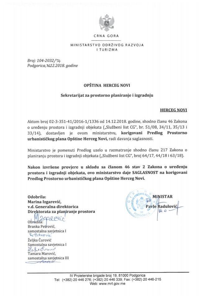 104-2032_74 Saglasnost na korigovani Predlog Prostorno urbanističkog plana Opštine Herceg Novi
