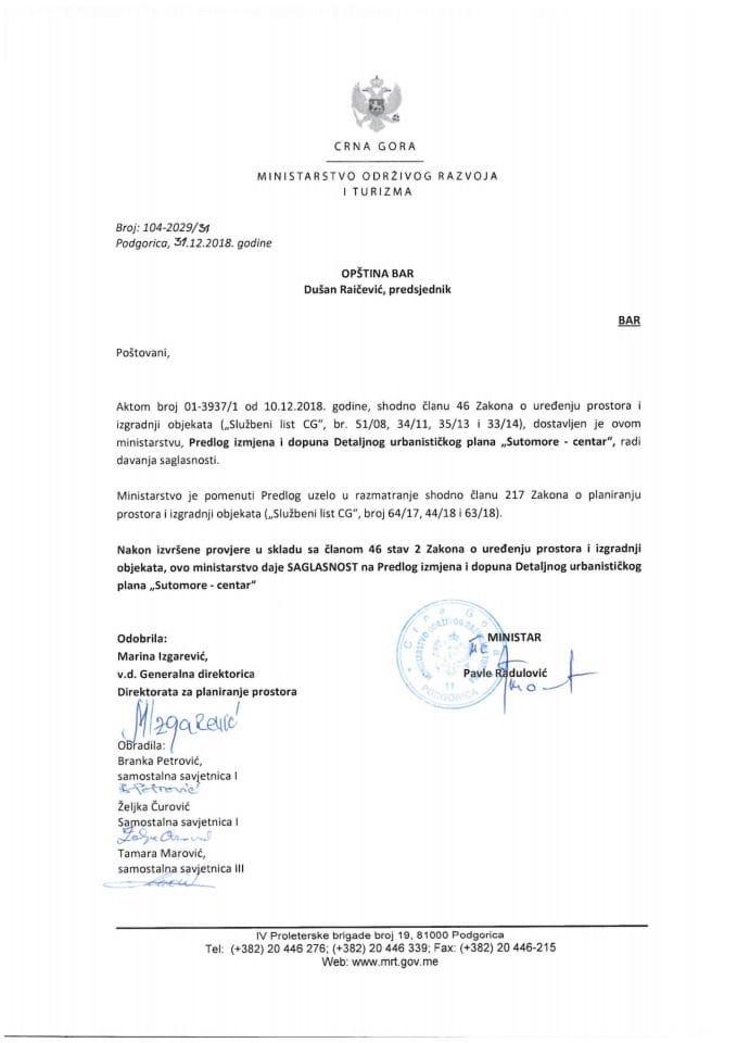 104_2029_31 Saglasnost na Predlog DUP_a Sutomore Centar