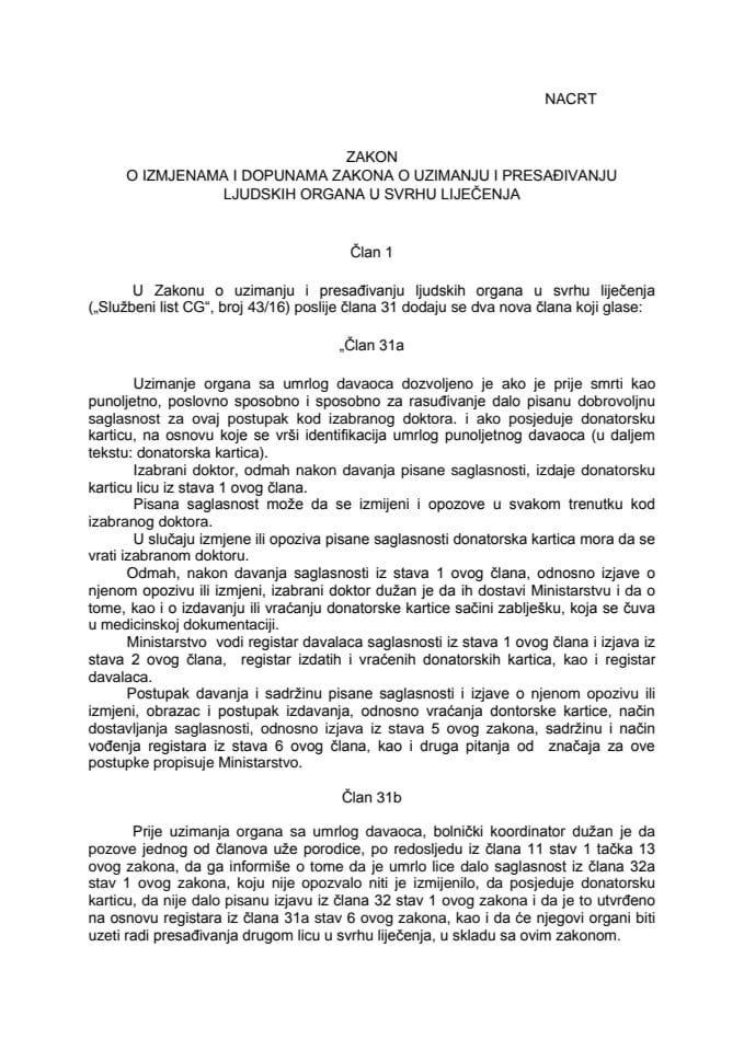 Nacrt zakona o izmjenama i dopunama zakona o uzimanju i presađivanju - 13.05.2019.