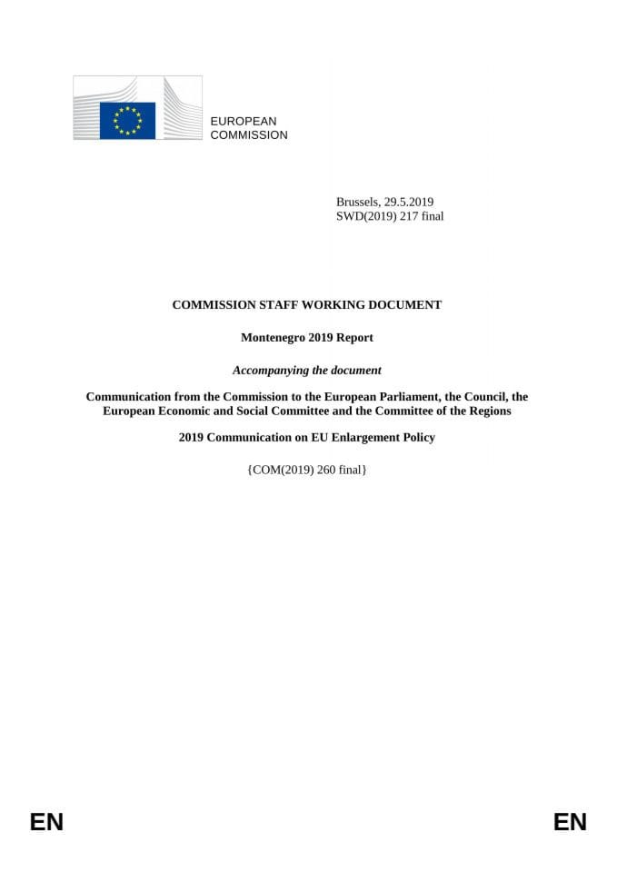 European Commission's Report on Montenegro for 2019