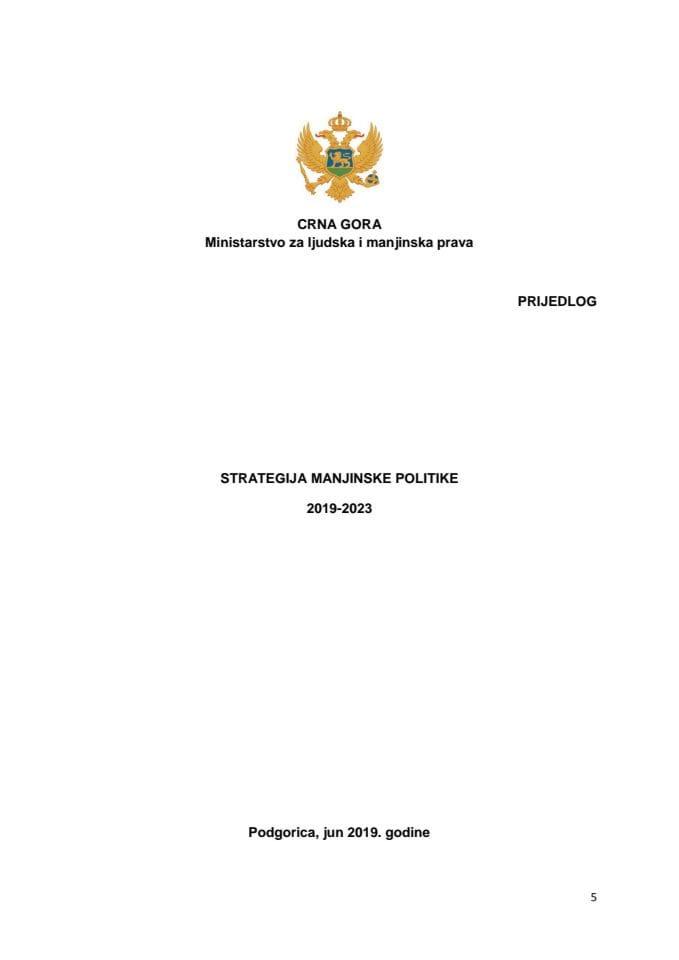 Predlog strategije manjinske politike 2019 – 2023 s Predlogom akcionog plana za 2019-2020. godinu