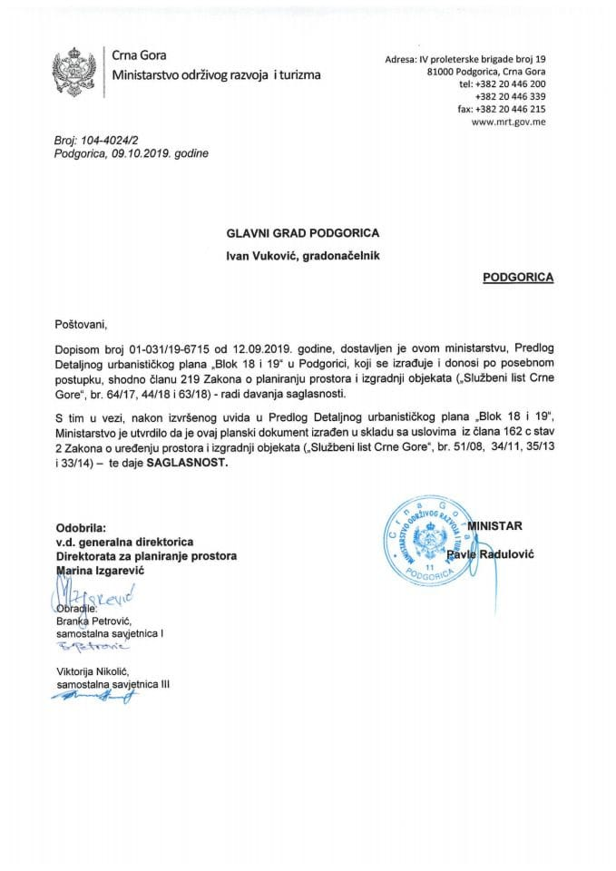 104-4024_2 Saglasnost na Predlog DUP-a Blok 18 i 19, Glavni grad Podgorica