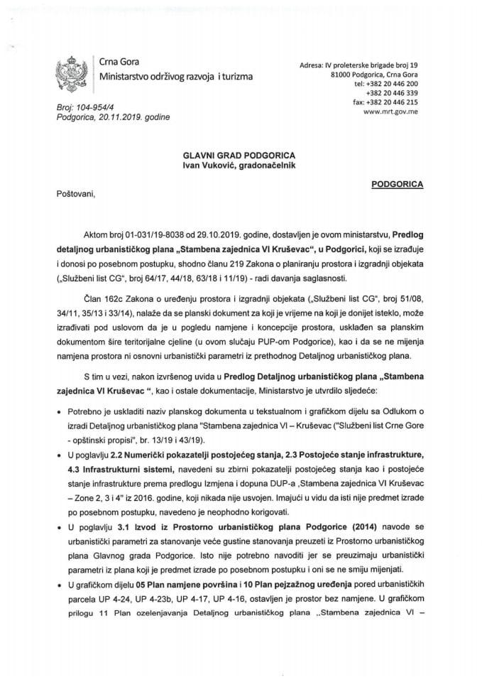 104-954_4 Predlog DUP-a Stambena zajednica VI Kruševac, Glavni grad Podgorica