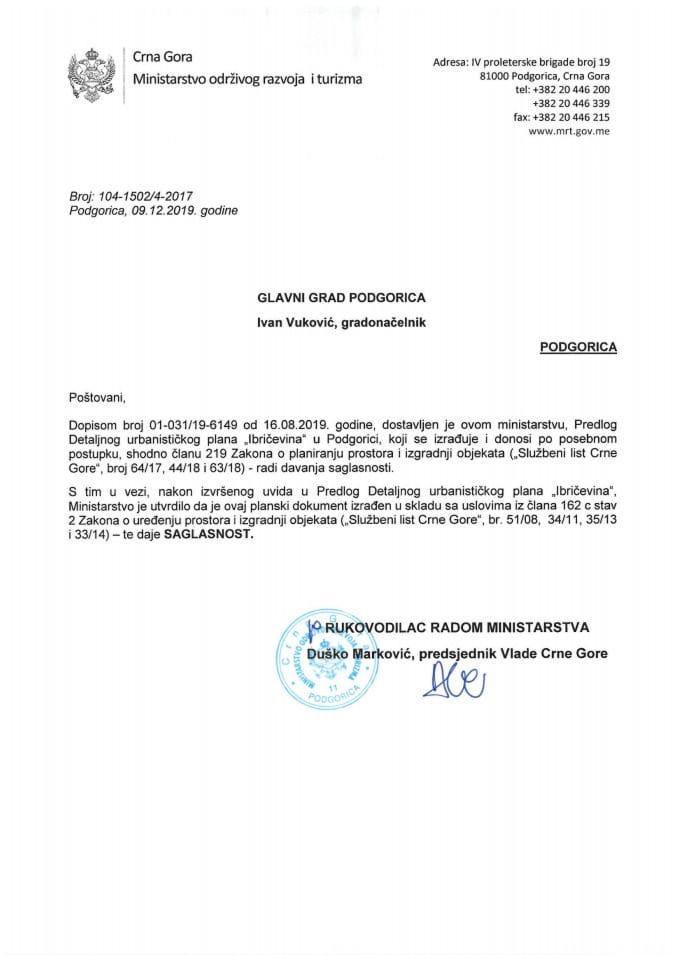 104-1502_4-2017 Saglasnost na Predlog DUP-a Ibričevina, Glavni grad Podgorica
