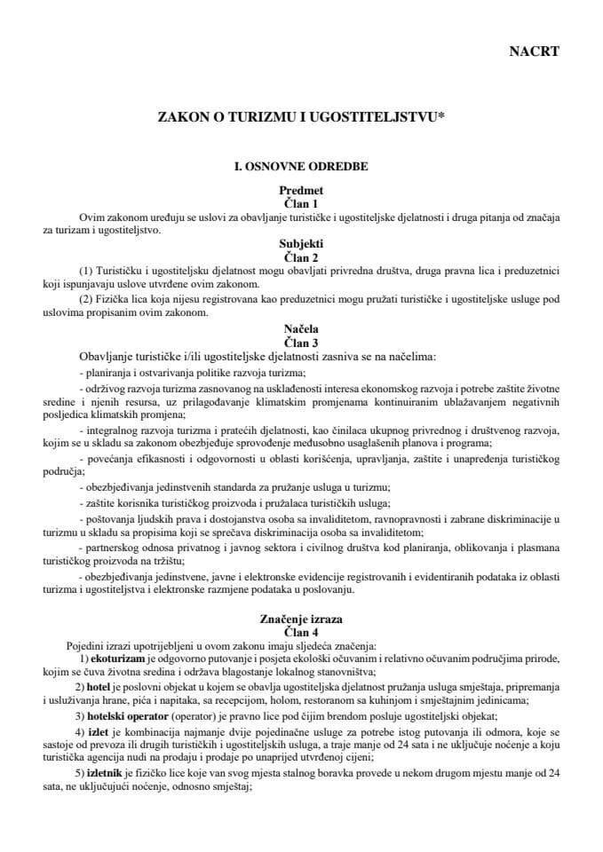 Nacrt zakona o turizmu i ugostiteljstvu sa obrazloženjem