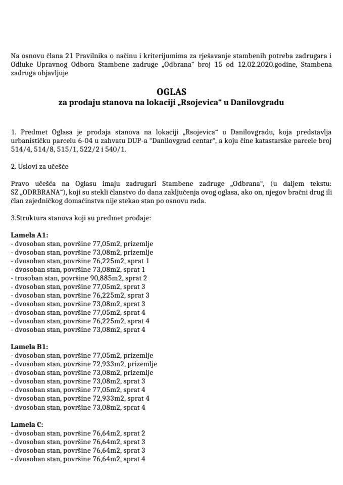 """Oglas za prodaju stanova na lokaciji """"Rsojevica"""" u Danilovgradu"""