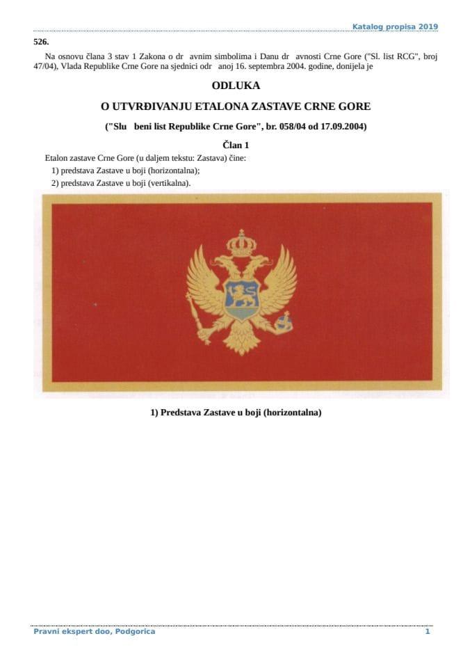 Odluka o utvrđivanju etalona Zastave Crne Gore