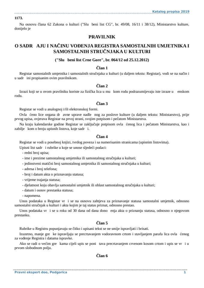 Pravilnik o sadrzaju i nacinu vodjenja registra samostalnih umjetnika i samostalnih strucnjaka u kulturi