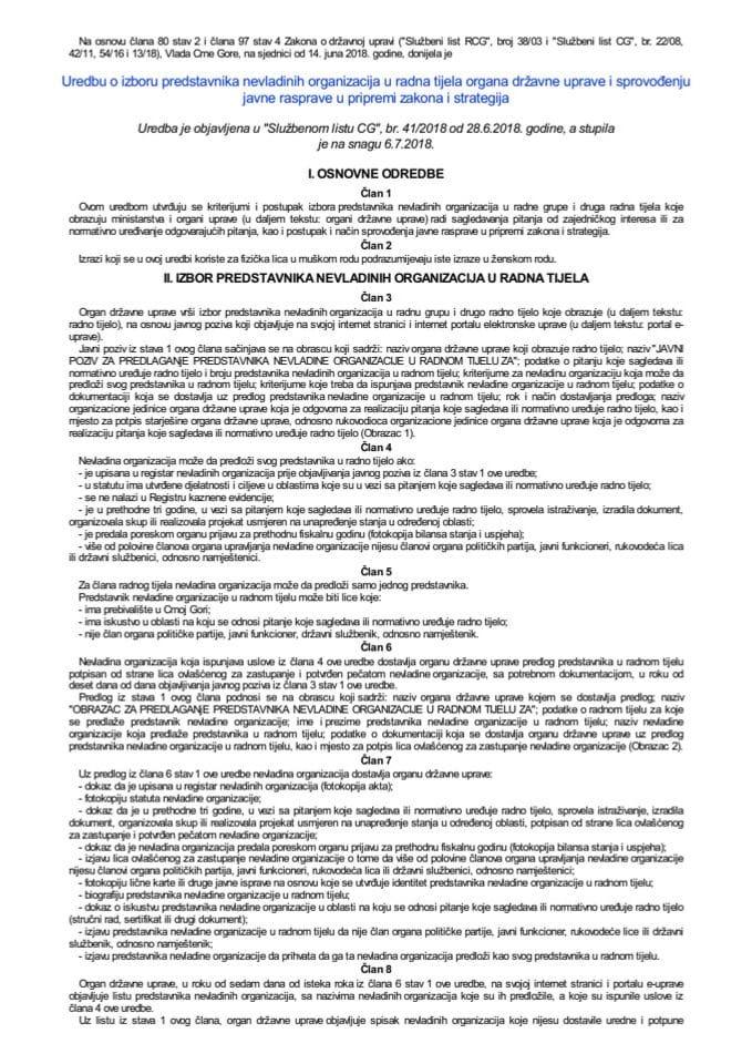 Uredba o izboru predstavnika nevladinih