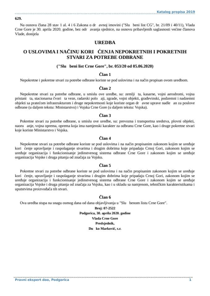 Uredba o uslovima i nacinu koriscenja nepokretnih i pokretnih stvari za potrebe odbrane