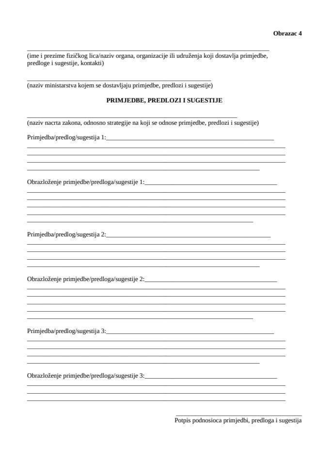 4. Obrazac za dostavljanje primjedbi, predloga i sugestija