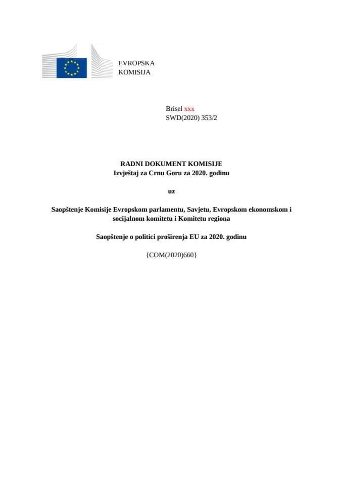 Radna verzija prevoda Izvještaja Evropske komisije o Crnoj Gori za 2020. godinu