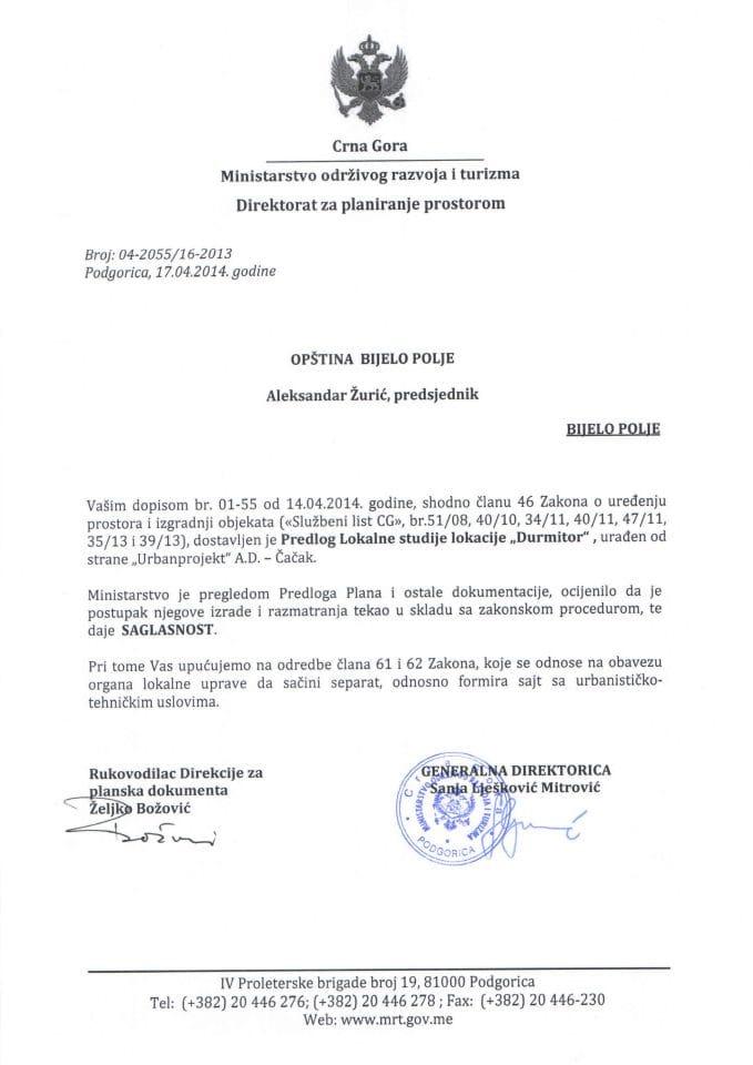 04_2055_16_2013 SAGLASNOST NA PREDLOG LSL DURMITOR OPŠTINA BIJELO POLJE