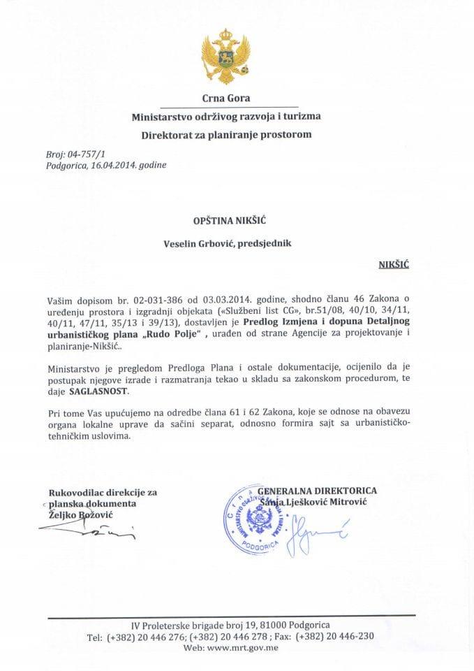 04_757_1 SAGLASNOST NA PREDLOG IID DUP-a RUDO POLJE OPŠTINA NIKŠIĆ