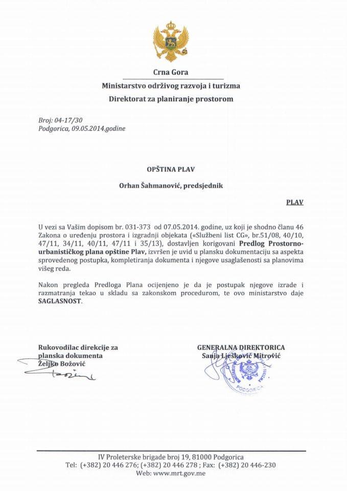 04_17_30 SAGLASNOST NA PREDLOG PUP-A PLAV OPSTINA PLAV