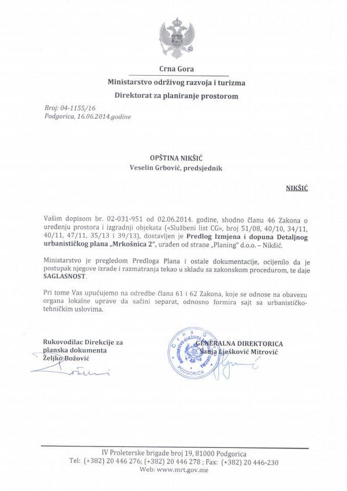 04_1155_6 Saglasnost na Predlog Izm.i dop. DUPMrkosnica 2 Opstina Niksic