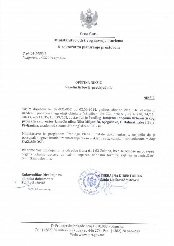 04_1458_1 Saglasnost na Predlog Izm.i dop.UP Opstina Niksic