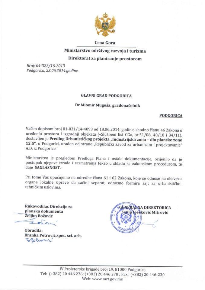 04_322_16_2013 SAGLASNOST NA PREDLOG UP INDUSTRIJSKA ZONA DIO PLANSKE ZONE 12.5 GLAVNI GRAD PODGORICA