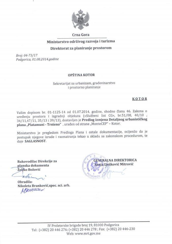 04_73_17 SAGLASNOST NA PREDLOG DUP-a PLATAMUNI TRSTENO OPSTINA KOTOR