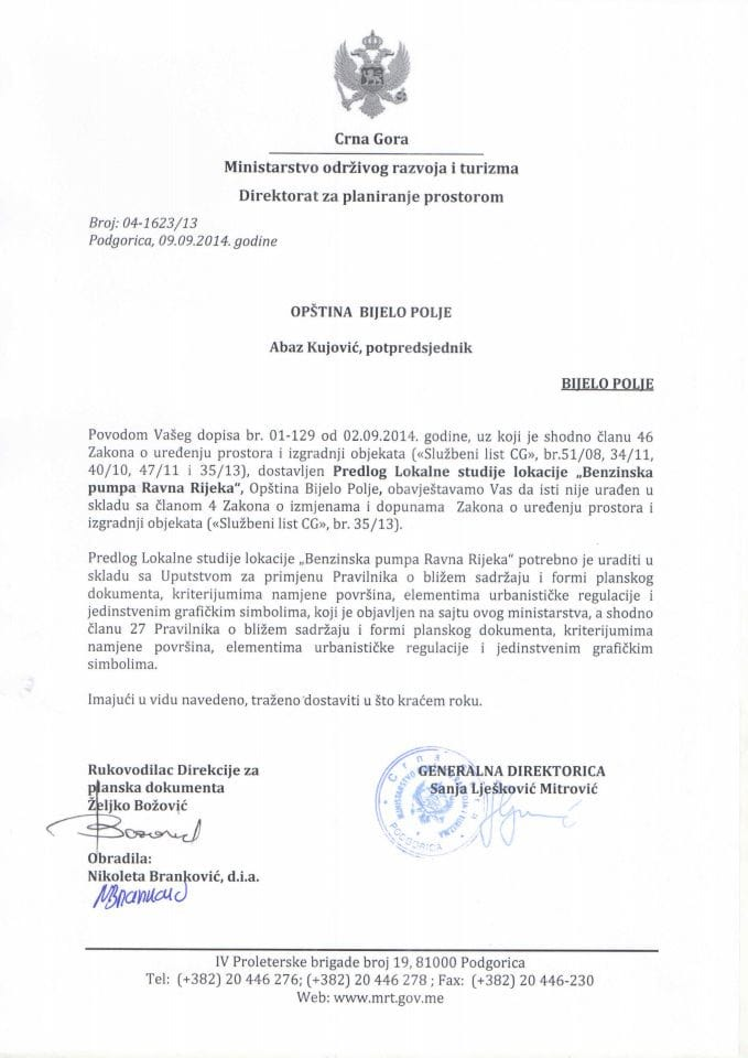 04_1623_13 Saglasnost na Predlog LSL Benzinska pumpa Ravna Rijeka Opstina Bijelo Polje