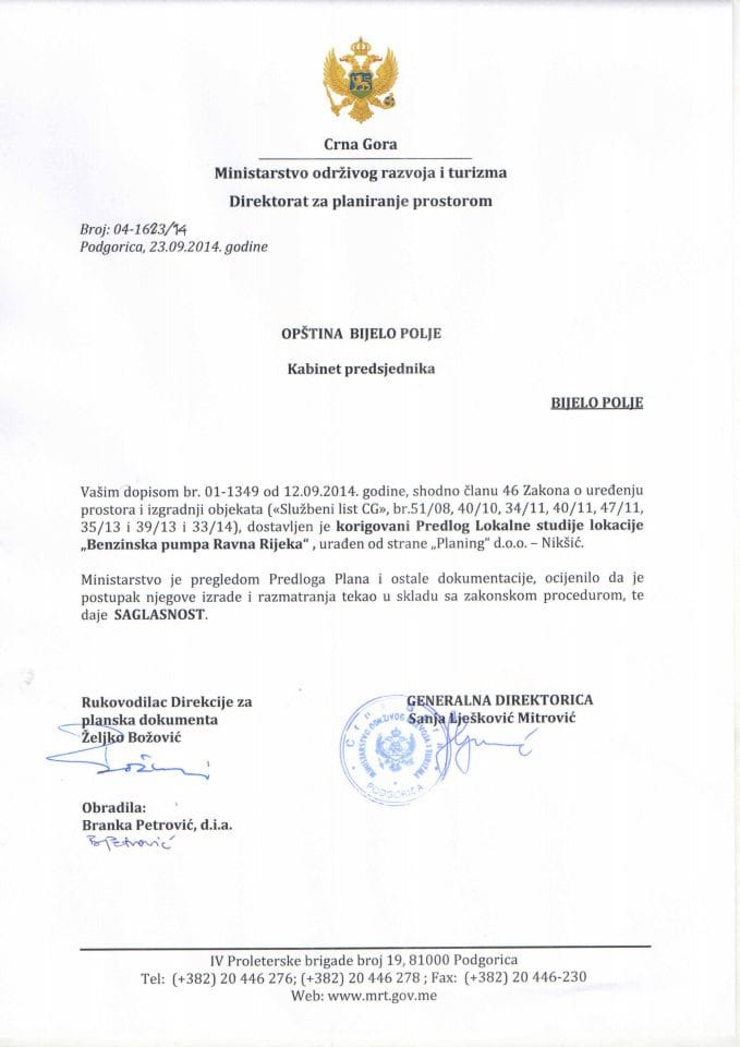 04_1623_14 Saglasnost na korigovani Predlog LSL Benzinska pumpa Ravna Rijeka Opstina Bijelo Polje