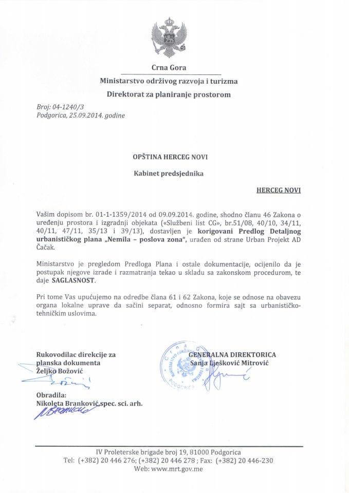 04_1240_3 Saglasnost na Predlog DUP Nemila-poslovna zona Opstina Herceg Novi