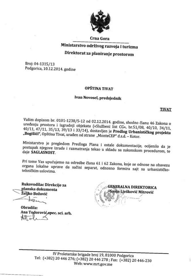 04_1315_13 Saglasnost na Predlog UP Bogisici Opstina Tivat