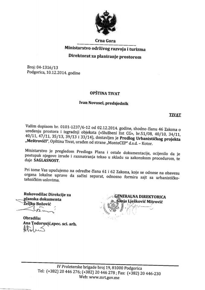 04_1316_13 Saglasnost na Predlog UP Mestrovici Opstina Tivat