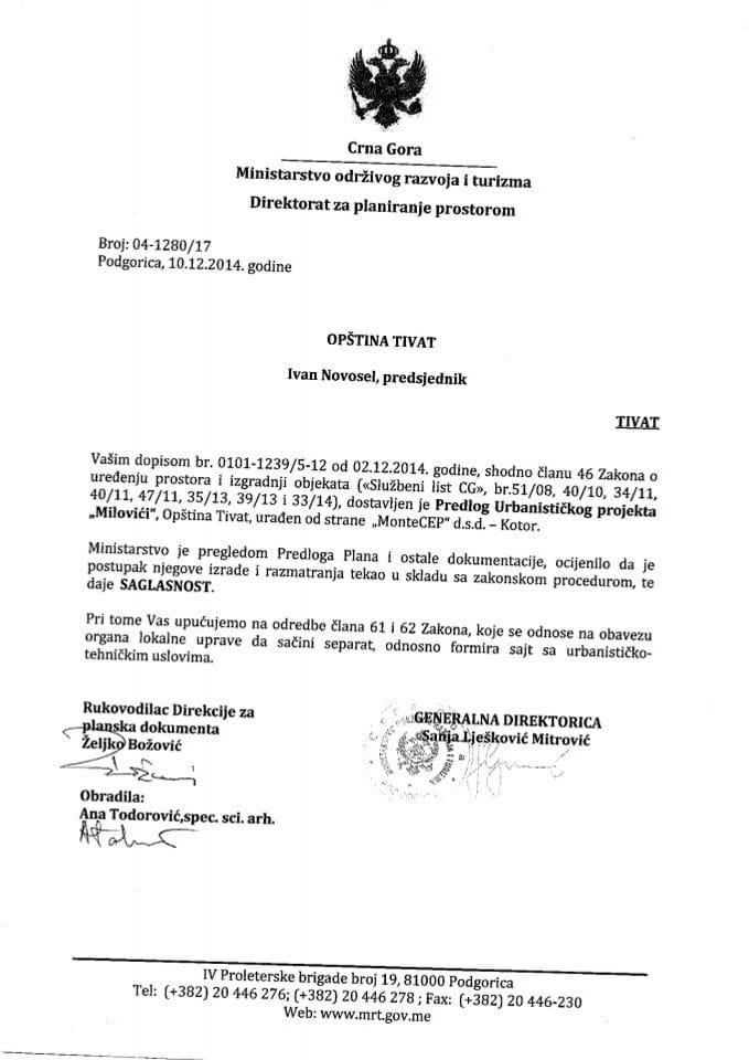 04_1280_17 Saglasnost na Predlog UP Milovici Opstina Tivat