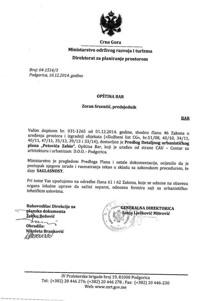 04_1514_3 Saglasnost na Predlog DUP-a Petrova Zabio Opstina Bar