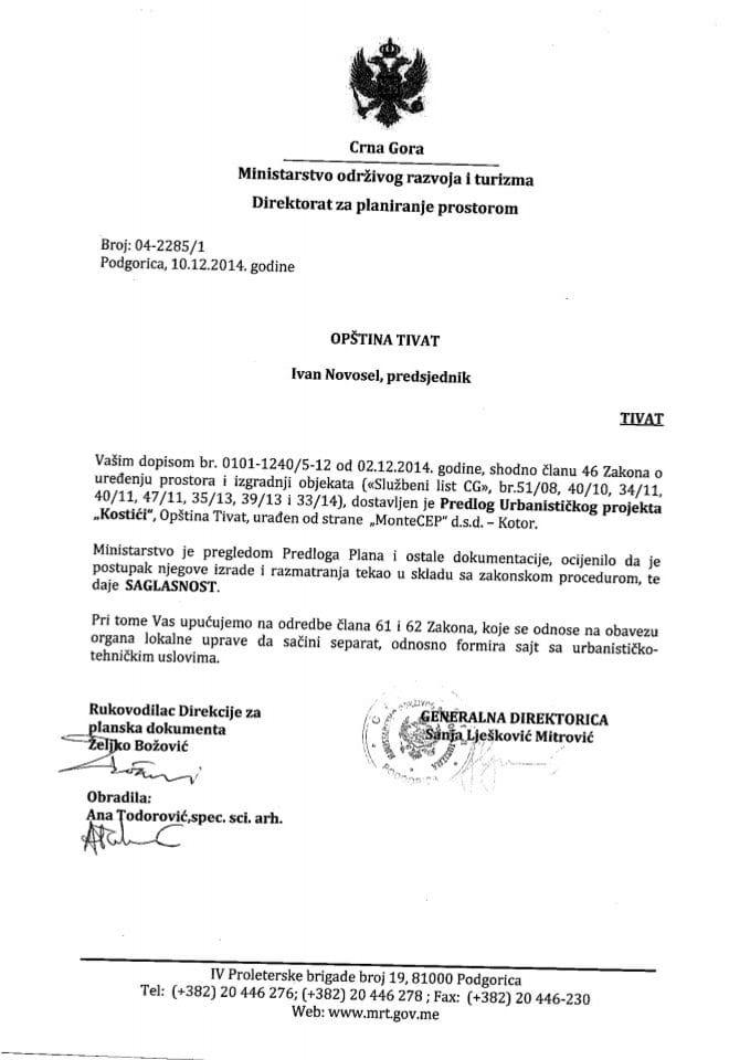 04_2285_1 Saglasnost na Predlog UP Kostici Opstina Tivat