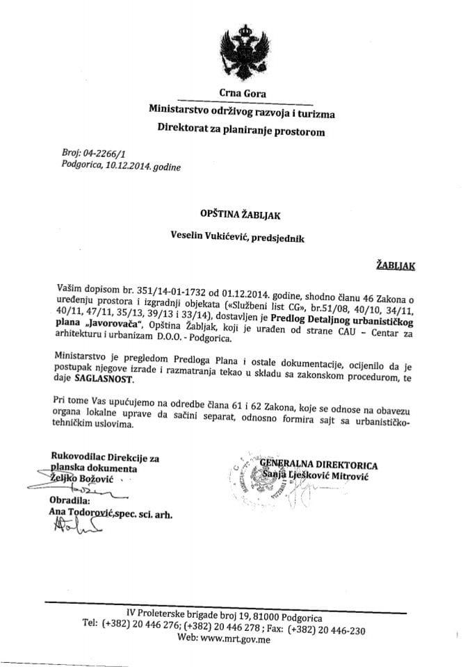 04_2266_1 Saglasnost na Predlog DUP-a Javorovaca Opstina Zabljak