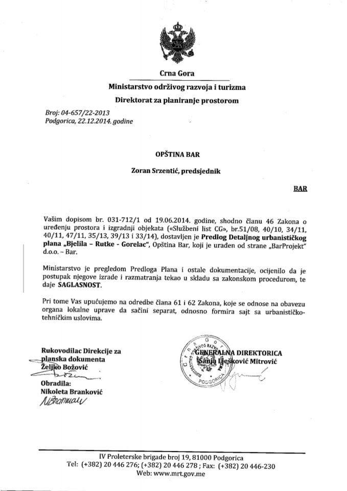 04_657_22_2013 Saglasnost na Predlog DUP-a Bjelila Rutke Gorelac