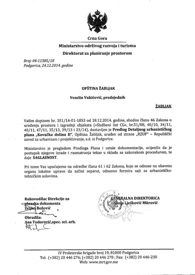 04_11585_18 Saglasnost na Predlog DUP-a Kovacka dolina Opstina Zabljak