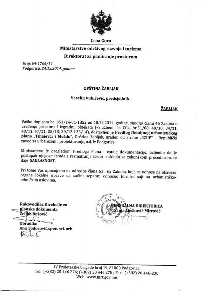 04_1706_14 Saglasnost na Predlog DUP-a Tmajevici i Mezdo Opstina Zabljak