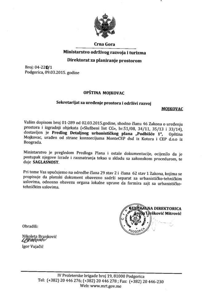 04_220_1 Saglasnost na Predlog DUP-a Podbisce 1 Opstina Mojkovac