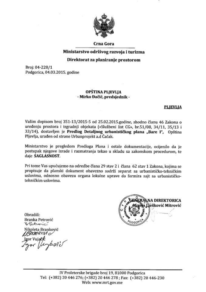 04_228_1 Saglasnost na Predlog DUP-a Bare I Opstina Pljevlja