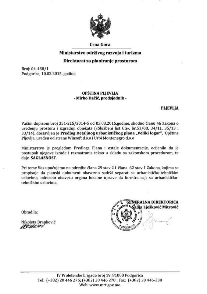 04_438_1 Saglasnost na Predlog DUP-a Veliki logor Opstina Pljevlja