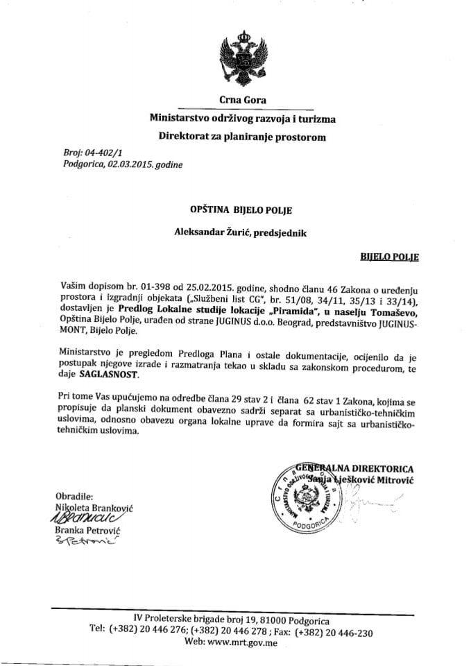 04_402_1 Saglasnost na Predlog LSL Piramida u naselju Tomasevo Opstina Bijelo Polje