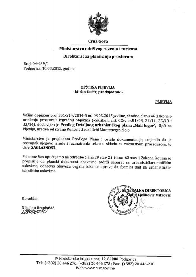 04_439_1 Saglasnost na Predlog DUP-a Mali logor Opstina Pljevlja