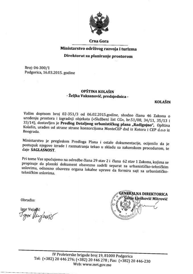 04_300_1 Saglasnost na Predlog DUP-a Radigojno Opstina Kolasin