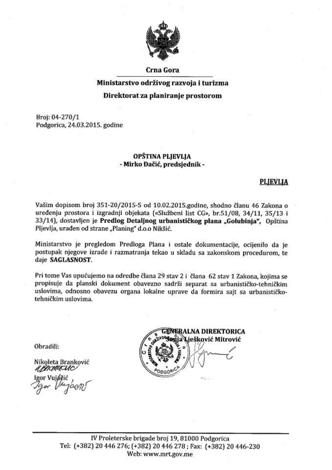 04_270_1 Saglasnost na Predlog DUP-a Golubinja Opstina Pljevlja