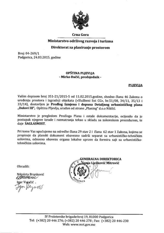 04_269_1 Saglasnost na Predlog IID DUP-a Dolovi III Opstina Pljevlja