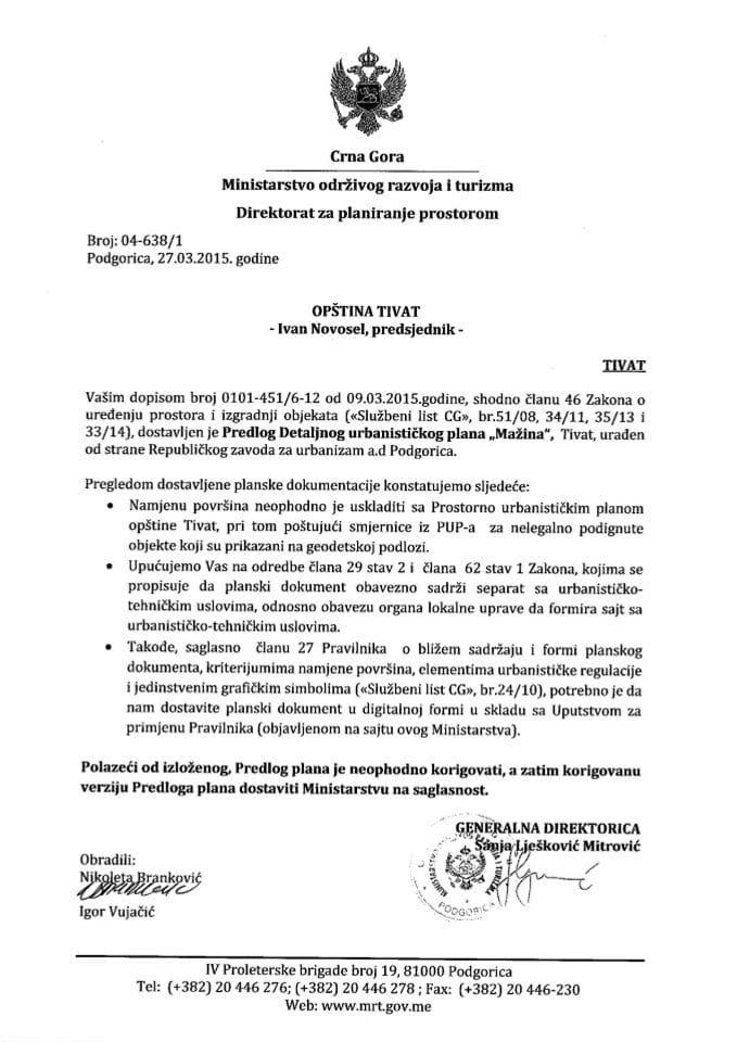 04_638_1 Predlog DUP-a Mazina Opstina Tivat